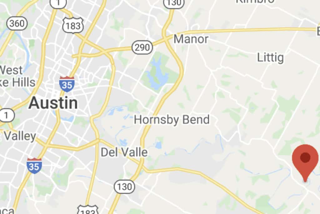 A map of Austin, TX and Barton Hill Farms